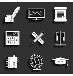 School and education flat icons set vector