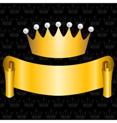 Golden ribbon and crown vector
