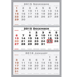 2015 december with red dating mark vector