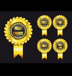 Set of black award labels vector
