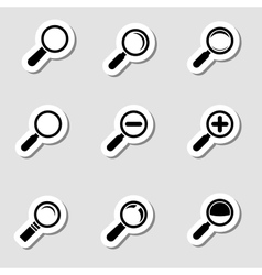 Magnifier glass icons as labes vector