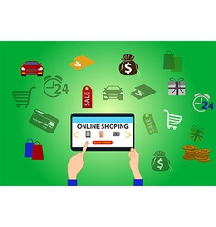 Online shopping background vector