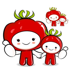 Tomato couple characters to promote vegetable sell vector
