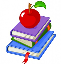 Pile book with red apple vector