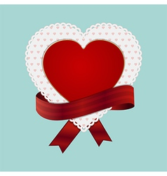 Valentine heart card and ribbon vector