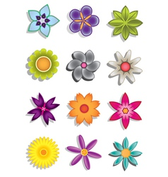 Abstract flower icons vector