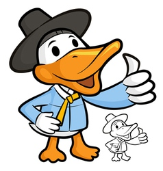 Duck mascot the right hand best gesture vector