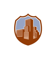 Urban skyscraper buildings shield retro vector