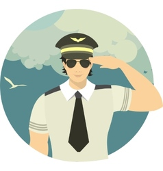Airline pilot in a round emblem vector