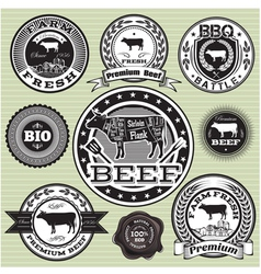 Set of labels with cow and beef vector