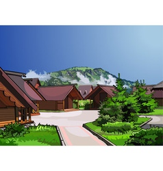 Landscape wooden houses vector