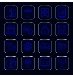Blue glowing business icons vector