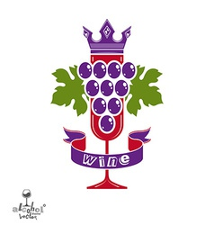 Elegant glass of wine with grapes cluster vector