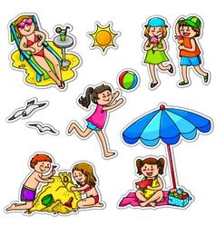 Kids in summer vector