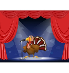 A turkey in the center of a stage vector
