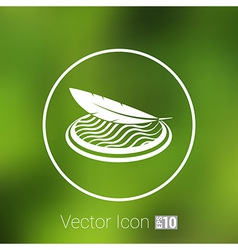 Icon fabric button isolated soft white symbol vector