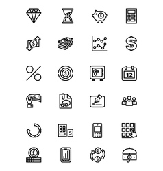 Finance line icons 7 vector