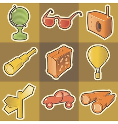 Multicolored travel icons vector