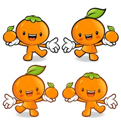 Tangerine and orange couple characters to promote vector