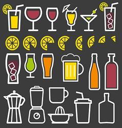 Beverage thin line symbol icon vector