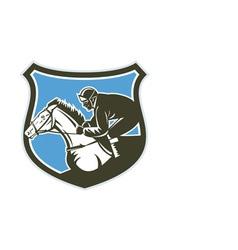 Jockey horse racing side shield retro vector