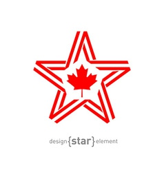 Monocrome star with canadian flag color and symbol vector