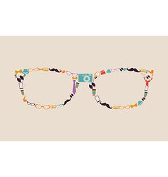 Vintage hipsters icons glasses vector