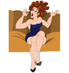 Cartoon girl sitting on the sofa hands up vector