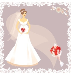 Beautiful pregnant bride silhouette vector