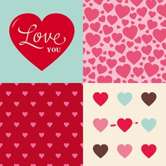 Set of heart pattern background for valentines day vector