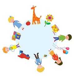 Children and toys in the circle vector