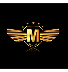 Letter m winged crests logo alphabet logotype vector
