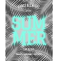 Summer party palm leaves neon blue text flyer vector