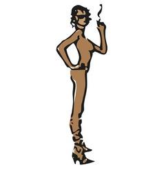 Nude smoking model vector