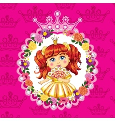 Little princess red hair on a pink background vector
