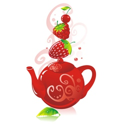 Teapot with red berries vector