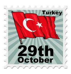 Post stamp of national day of turkey vector