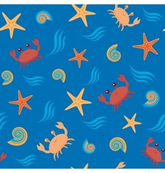 Seamless pattern with crabs and shells vector