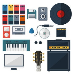 My music studio instrument flat design vector
