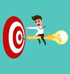 Businessman riding a dart lightbulb to target vector