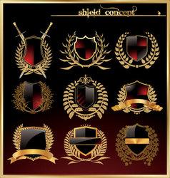 Shield and laurel wreath - set vector