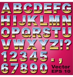 Chrome letters and numbers vector