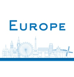 Famous landmarks in europe vector