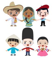 Multicultural children holding hands vector