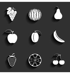 Fruits flat icon set vector