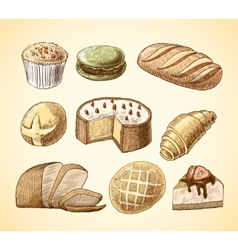 Pastry and bread decorative icons set vector