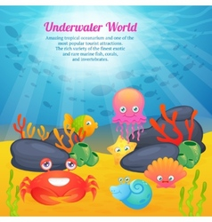 Cute animals underwater world series vector