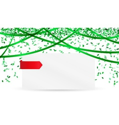 Falling green confetti and blank paper vector