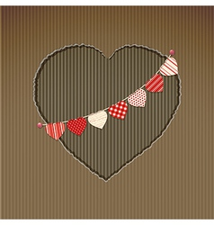 Valentine heart cardboard cut out with bunting vector