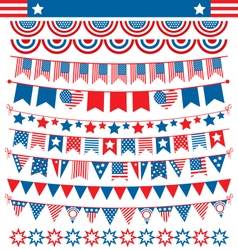 Usa celebration buntings garlands flags flat vector